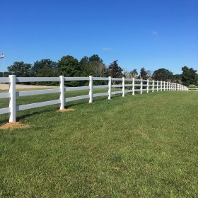 Durables 3-Rail Vinyl Ranch Rail Horse Fence with 7' Posts (White) - Priced Per Foot