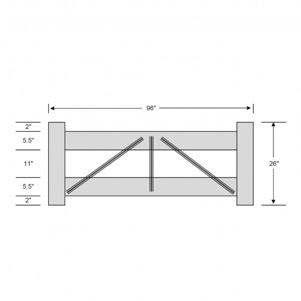 Durables 2-Rail Vinyl Horse Fence Gate Kit - Adjustable Size (Up To 8' Wide) - Gray - Measurement Diagram Shown