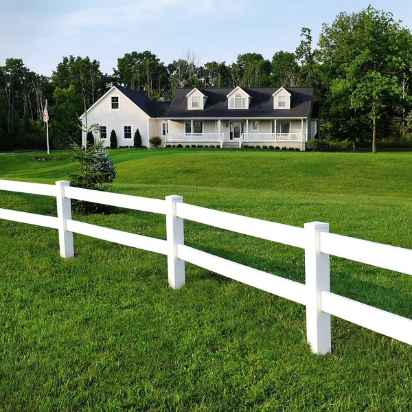 Durables 2-Rail Vinyl Ranch Rail Horse Fence with 5' Posts (Gray) - Priced Per Foot (White Shown As Example)