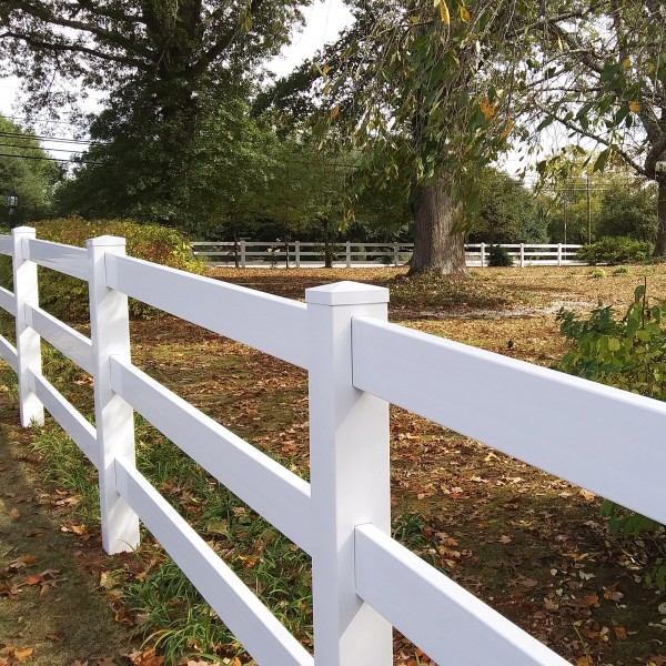 Durables 3-Rail Vinyl Ranch Rail Horse Fence with 8' Posts (Gray) - Priced Per Foot (White Shown As Example)