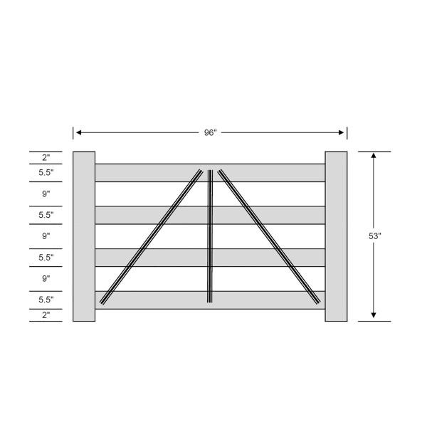 Durables 4-Rail Vinyl Horse Fence Gate Kit - Adjustable Size (Up To 8' Wide) - White - Measurement Diagram Shown