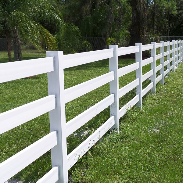 Durables 4-Rail Vinyl Ranch Rail Horse Fence with 8' Posts (Gray) - Priced Per Foot (White Shown As Example)