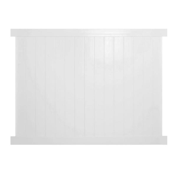 Durables 5' x 8' Ashforth Privacy Vinyl Fence Section w/ Aluminum Insert in Bottom Rail (White) - PWPR-T&G-5x10