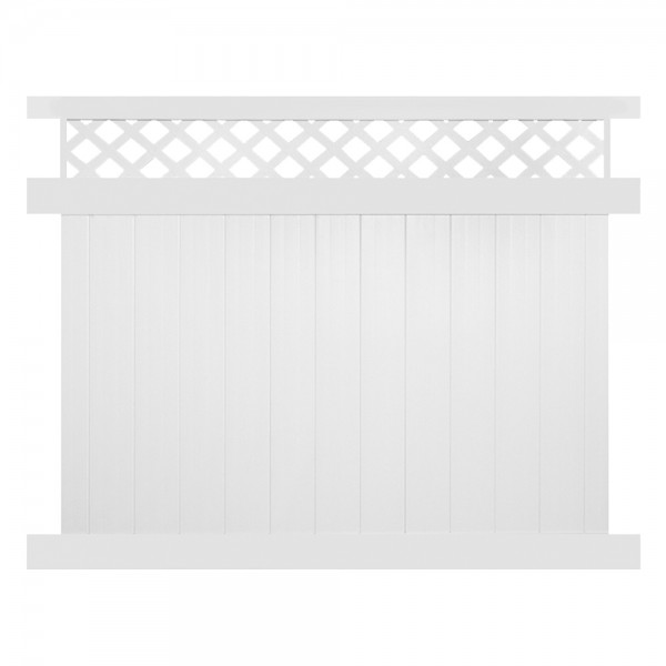 Durables 7' x 8' Canterbury Privacy Vinyl Fence Section w/ Aluminum Insert in Bottom Rail (White) - PWPR-LAT-7X10
