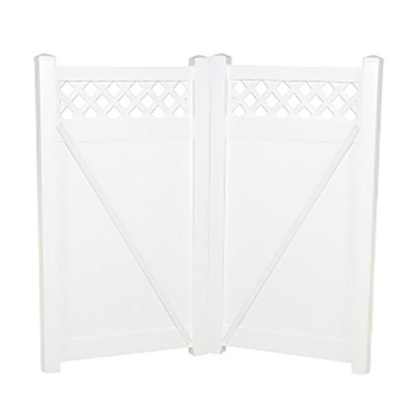 """Durables 5' x 38.5"""" Canterbury Double Gate (White) - DWPR-LAT-5x38.7"""