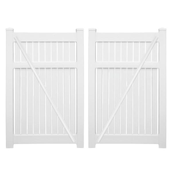 """Durables 5' x 72"""" Milton Double Gate (White) - DWSP-SEMI-5x74"""