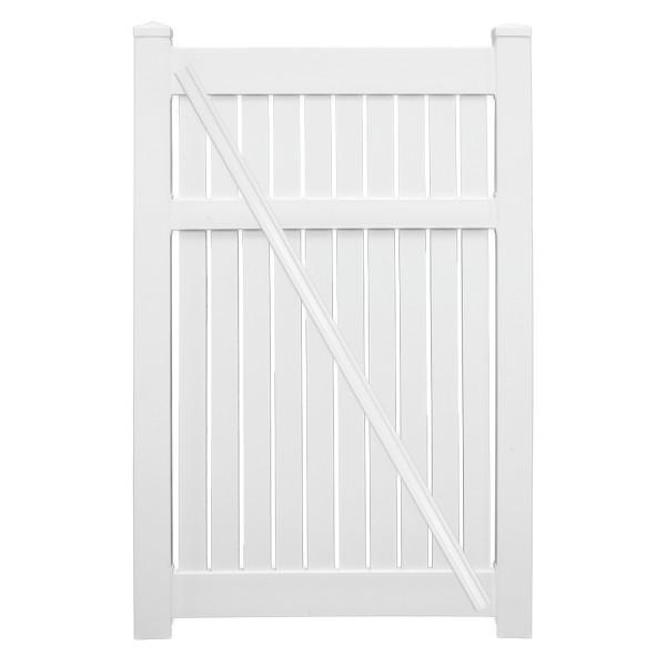 """Durables 5' x 72"""" Milton Single Gate (White) - SWSP-SEMI-5x74"""
