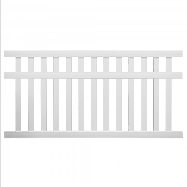 Durables 5' x 6' Waldston Pool Fence Section w/ Aluminum Insert in Bottom Rail (White) - PWPO-3-5X8