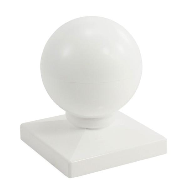"""Durables 4"""" Sq. Ball Post Cap (White) - AWCP-BALL-4"""