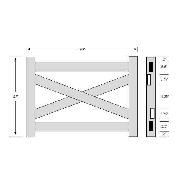 Durables Crossbuck Vinyl Horse Fence Gate Kit - Adjustable Size (Up To 8' Wide) - White - Measurement Diagram Shown