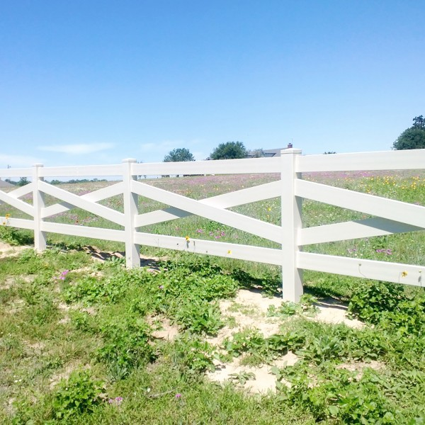 Durables Crossbuck Vinyl Ranch Rail Horse Fence with 7.5' Posts (White) - Priced Per Foot