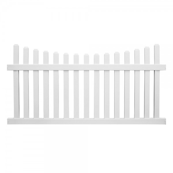 Durables 3' x 8' Darlington Picket Fence Section w/ Aluminum Insert in Bottom Rail (White) - PWPI-3SC-3X8DE