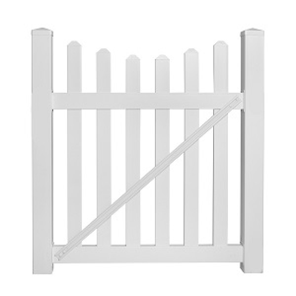"Durables 3' x 48"" Darlington Single Gate (White)"