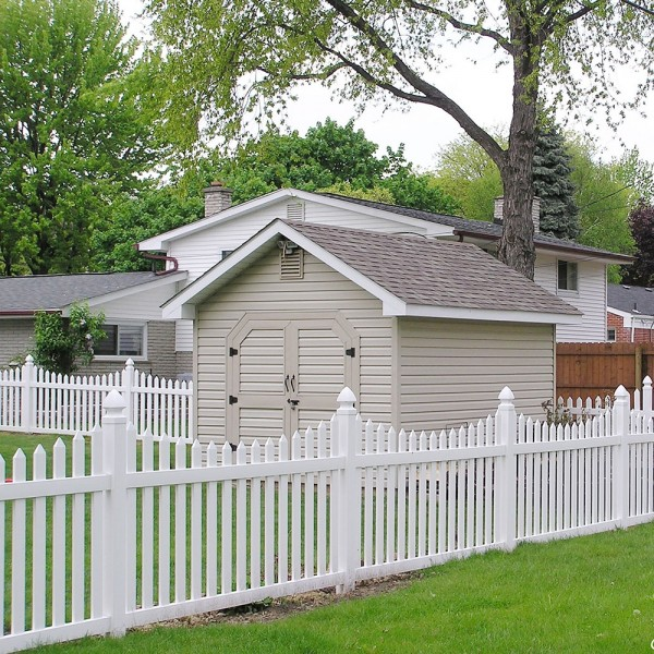 Durables 4' High Darlington Picket Fence (Tan) - White Shown As Example