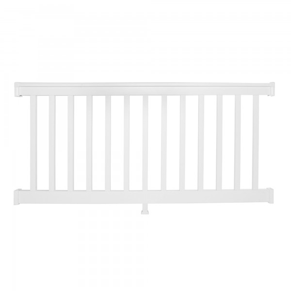 Durables 3 1/2' x 8' Harrington Vinyl Railing Straight Section With Top Rail Aluminum Insert (White) - WWR-T42-S8