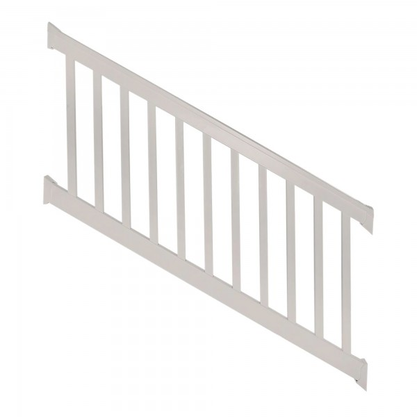 Durables 3 1/2' x 8' Harrington Vinyl Railing Stair Section With Top and Bottom Rail Aluminum Insert (Tan) - WTR-T42-S8S
