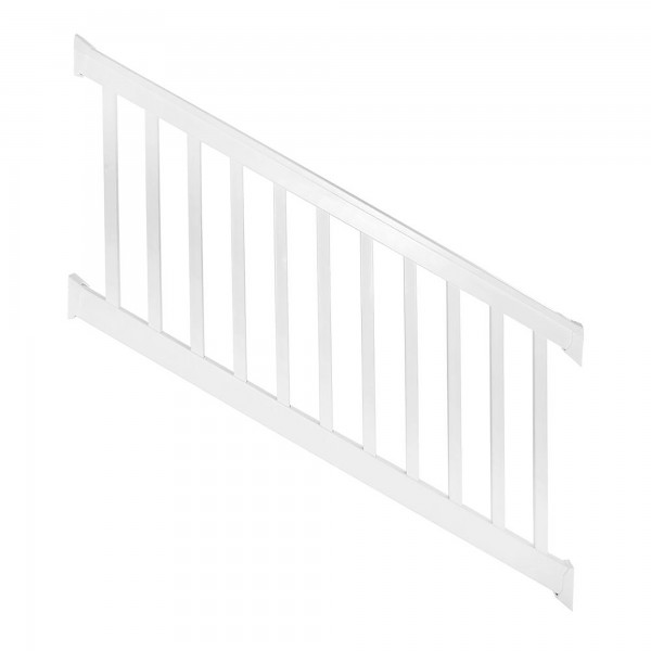 Durables 3 1/2' x 8' Harrington Vinyl Railing Stair Section With Top and Bottom Rail Aluminum Insert (White) - WWR-T42-S8S