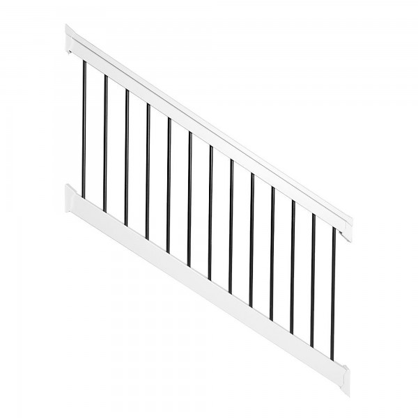 Durables 3 1/2' x 6' Kirklees Vinyl Railing Stair Section With Round Black Aluminum Spindles (White) - WWR-T42-R6S