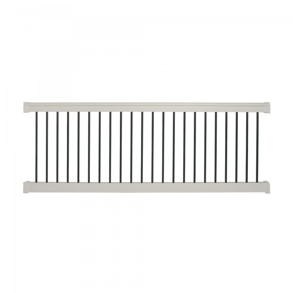 Durables 3 1/2' x 6' Kirklees Vinyl Railing Straight Section With Round Black Aluminum Spindles (Tan) - WTR-T42-R6