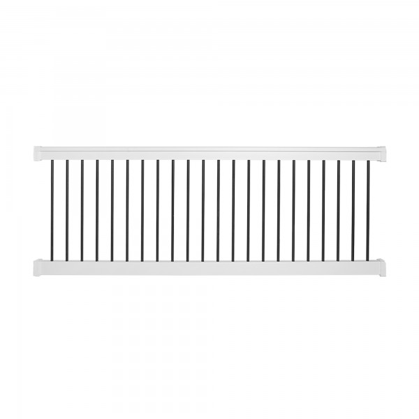 Durables 3 1/2' x 8' Kirklees Vinyl Railing Straight Section With Round Black Aluminum Spindles (White) - WWR-T42-R8
