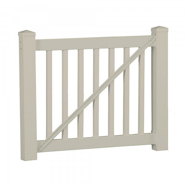 Durables 3 1/2' x 5' Waltham Vinyl Railing Gate (Tan) - CTG-R42-E60