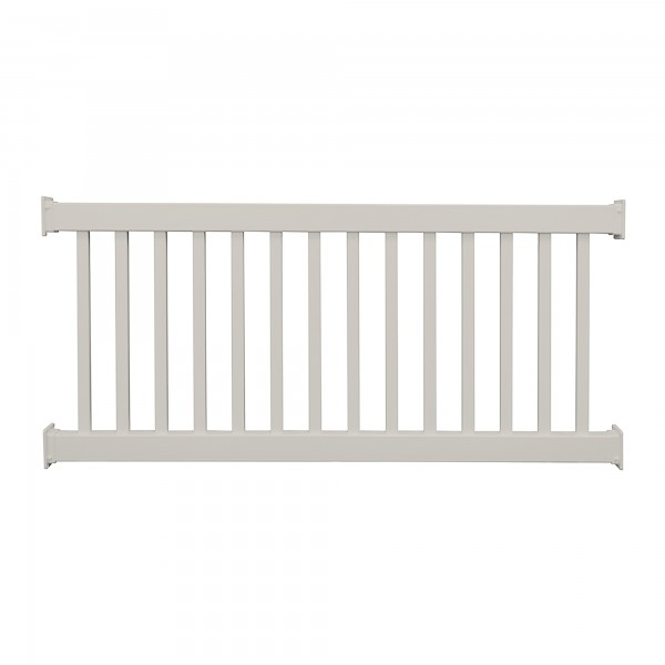 Durables 3 1/2' x 8' Waltham Vinyl Railing Straight Section With Top Rail Aluminum Insert (Tan) - CTR-R42-E8
