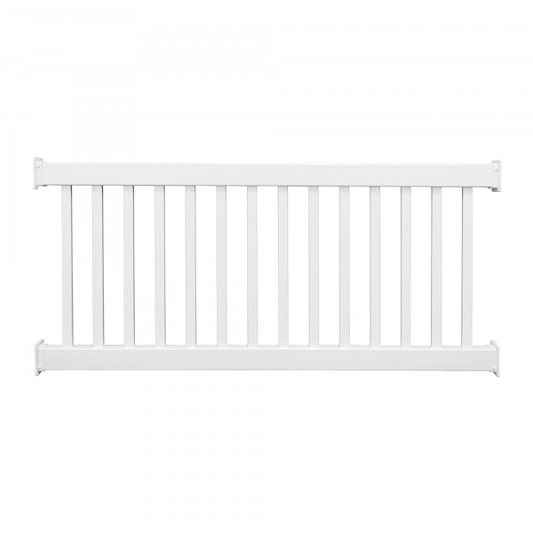 Durables 3 1/2' x 8' Waltham Vinyl Railing Straight Section With Top Rail Aluminum Insert (White) - CWR-R42-E8