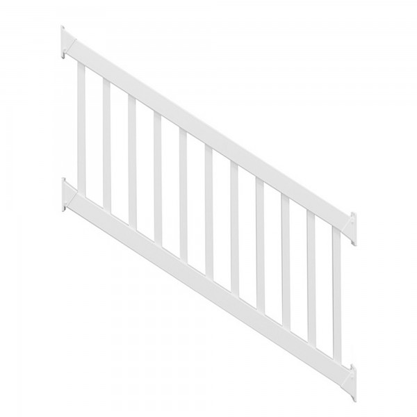 Durables 3 1/2' x 8' Waltham Vinyl Railing Stair Section With Top and Bottom Rail Aluminum Insert (White) - CWR-R42-E8S