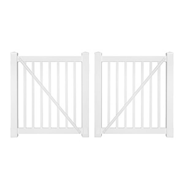 "Durables 5' x 48"" Gillingham Pool Fence Double Gate (White) - DWPO-1.5-5X48"