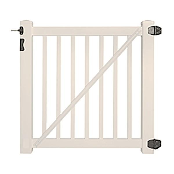 "Durables 5' x 72"" Gillingham Pool Fence Single Gate (Tan) - STPO-1.5-5X72"