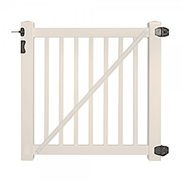 "Durables 5' x 36"" Gillingham Pool Fence Single Gate (Tan) - STPO-1.5-5X36"