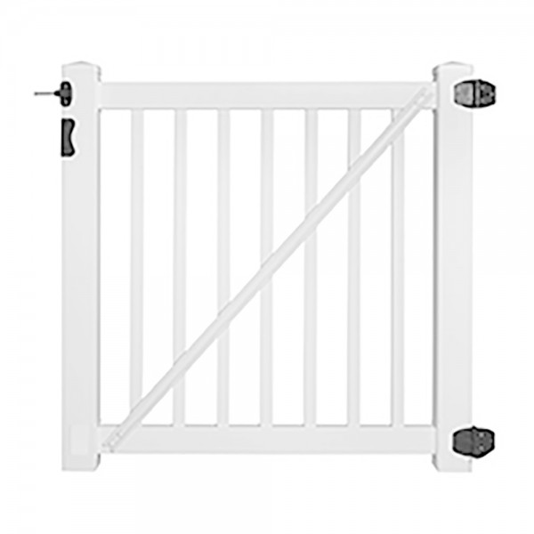 "Durables 5' x 72"" Gillingham Pool Fence Single Gate (White) - SWPO-1.5-5X72"
