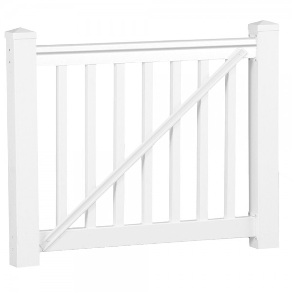 Durables 3 1/2' x 5' Harrington Vinyl Railing Gate (White) - WWG-T42-S60