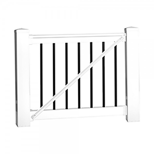Durables 3' x 5' Kirklees Vinyl Railing Gate With Round Black Aluminum Spindles (Tan) - WTG-T36-R60 (White Shown As Example)