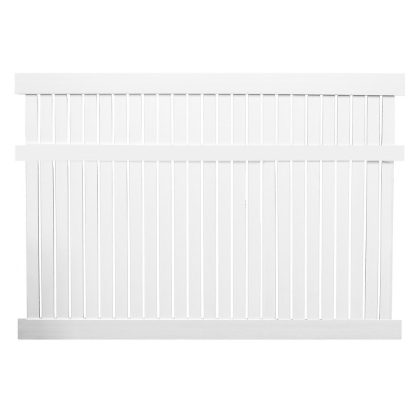 Durables 6' x 8' Milton Semi-Privacy Vinyl Fence Section w/ Aluminum Insert in Bottom Rail (White)