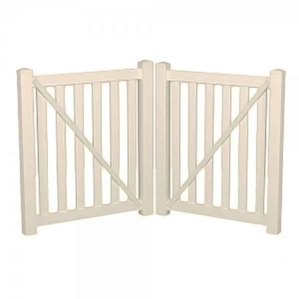 "Durables 5' X 72"" Waldston Pool Fence Double Gate (Tan) - DTPO-3-5X72"