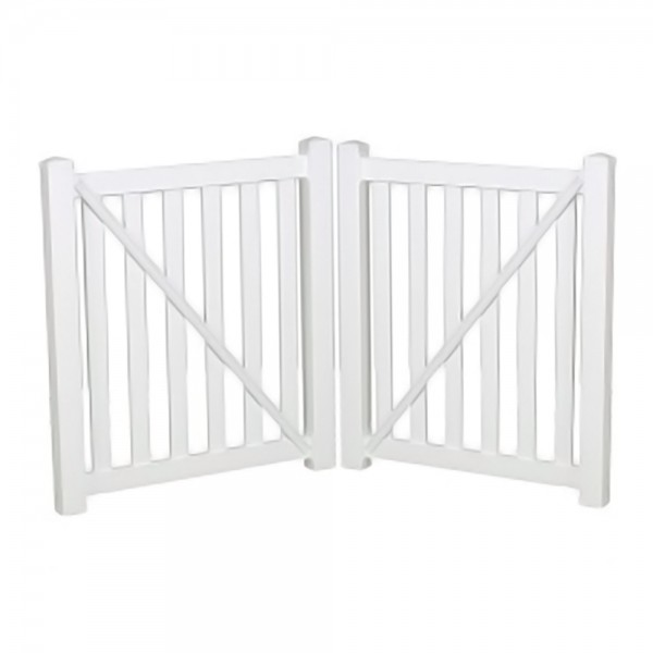 """Durables 5' X 48"""" Waldston Pool Fence Double Gate (White) - DWPO-3-5X48"""