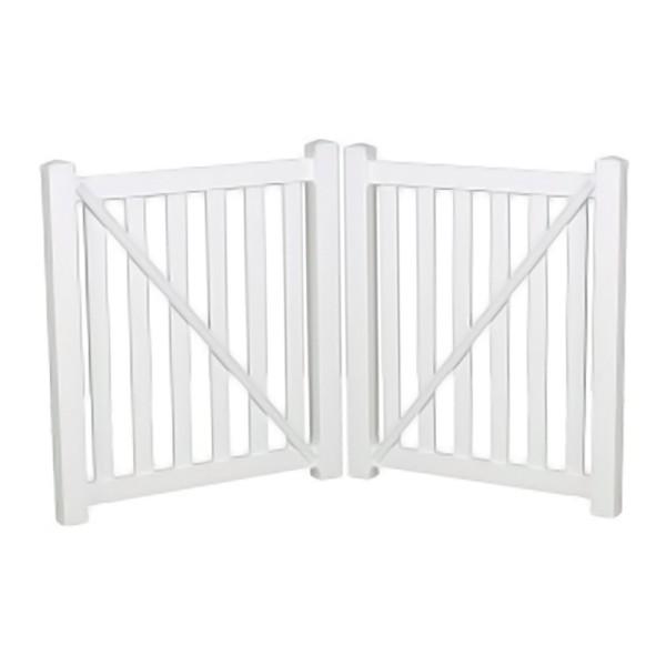 """Durables 5' X 72"""" Waldston Pool Fence Double Gate (White) - DWPO-3-5X72"""