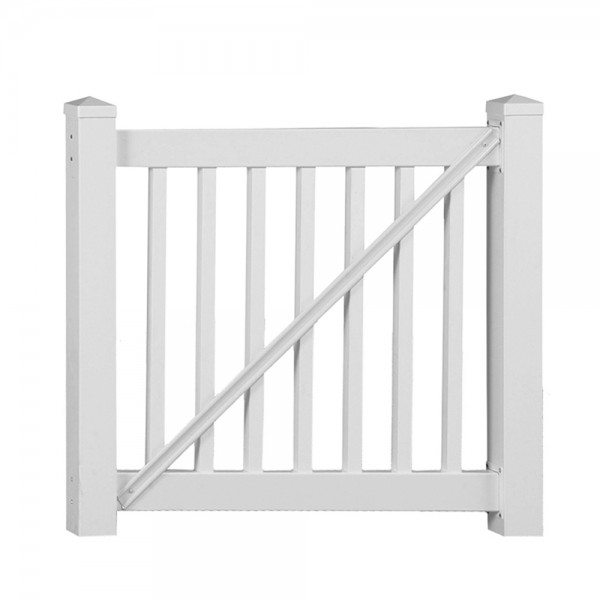 Durables 3 1/2' x 5' Waltham Vinyl Railing Gate (White) - CWG-R42-E60
